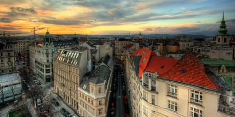 Photo of Vienna skyline at sunset.